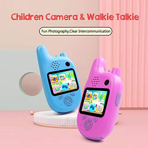 Baugger Cámara para niños Walkie Talkie 8MP Lentes duales Pantalla IPS de 2.0 Pulgadas Memoria extendida Batería incorporada Música y Temporizador de Juego Disparo automático