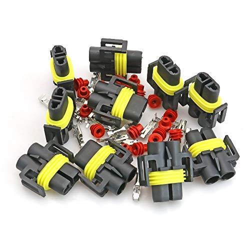 ZYBHWD 10SETS H8 / H9 / H1 / 880/881 Hembra Auto Car HID HID Xenon Bulb Light Socket Conector Adaptador Impermeable Enchufe para automóviles, Motocicletas # 1642 * 10 Cables de interconexión