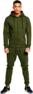 Mens Designer Tracksuit Skinny Fit Stretch Body Fit Zipped Top and Joggers Bottoms