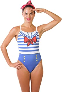 ZUMO Women's Sailor Style One-Piece Workout Swimsuit, Competitive & Training One Piece Swimwear, Athletic Bathing Suit