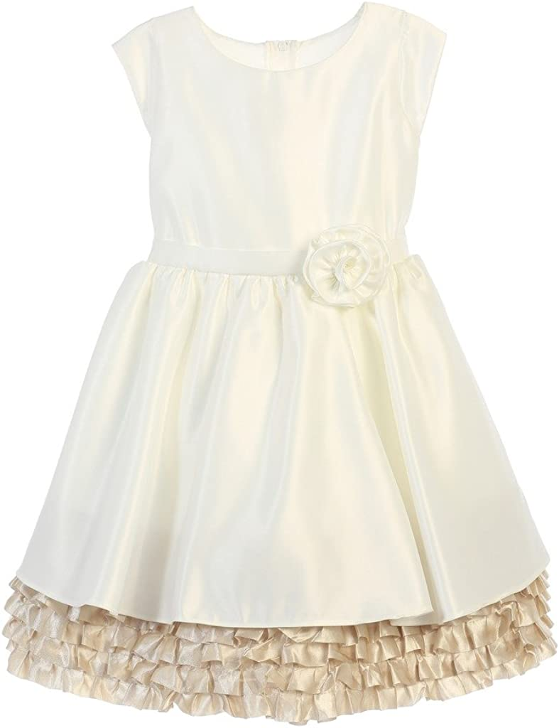 iGirldress Little Girls Satin Ruffle Special Occasion Dresses size2-12