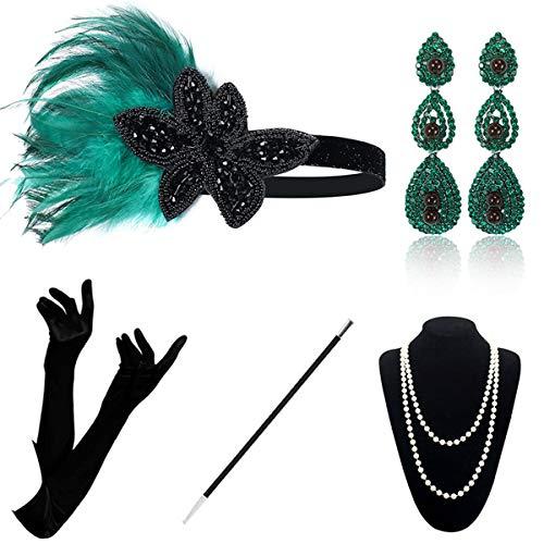 Juego de accesorios para disfraz de Gatsby de los aos 20, estilo vintage, diadema, pendientes, collar y guantes, soporte para cigarrillos, juego para fiestas y bailes.