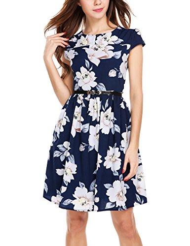 Zeagoo Damen Sommerkleid Elegant Blumenmuster Kurzarm Chiffonkleid Kleid mit Gürtel, Blau, Gr.- 42/ Etikettengröße- XL
