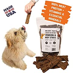 🦌UNRIVALED NATURAL QUALITY - Treat your canine companion as good as you treat yourself with these 100% All Natural Venison and Beef Chews! Smoked the way your pup likes them with ZERO grains, fillers or chemicals added. High in protein and low in fat...
