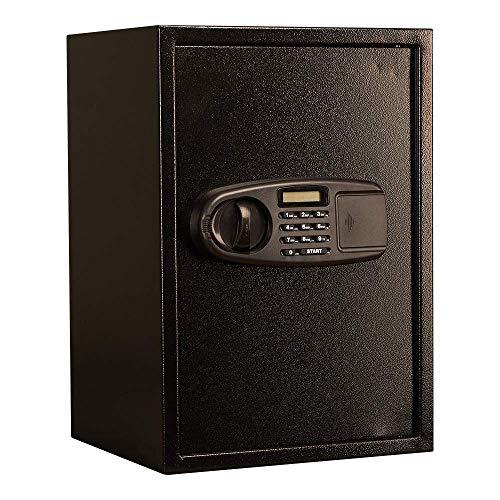 COLiJOL Panel Lcd Caja de Seguridad Electrónica con Contraseña Habitación de Hotel Armario Cajón Caja Fuerte Alarma Doble Alta Caja Fuerte de Acero (Color: Negro, Tamaño: Talla Única),Negro,Talla Úni