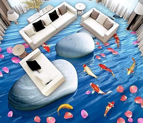 3D-badkamerbehang, waterdicht, 3D-bloemen, steen, paviljoen, waterbehang, grondkleur 3D 200 x 140 cm.