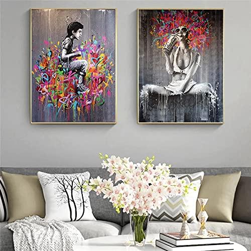 Yegnalo Lienzo Abstracto Moderno Graffiti Art Girl Pintura Arte de la Pared Cartel Lienzo Sala de Estar Dormitorio decoración de la Pared del hogar Pintura