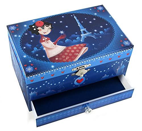 Boîte à bijoux musicale / boîte à musique en bois avec ballerine dansante et décor Paris en hiver (Réf: 9519) - Roméo et Juliette (P. I. Tchaïkovski)