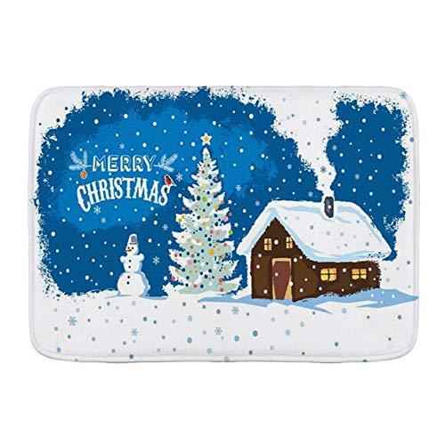 KASMILN Badematte,Winter Landhaus Schneemann Weihnachten Schnee Prominente Frohe Feiertage,Verdickte saugfähige rutschfeste Badezimmermatte, Türmatte