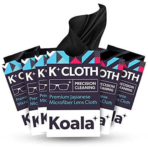 Koala Lens Cleaning Cloth | Japanese Microfiber Glasses and Screen Cleaner | Safe for All Multi-Coated Eyeglass and Camera Lenses (Pack of 6)