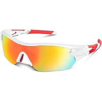 Gafas de sol polarizadas deportivas para hombres, mujeres, jóvenes, béisbol, ciclismo, correr, conducir, pescar, golf, motocicleta, tac, gafas (Blanco rojo): Amazon.es: Deportes y aire libre