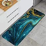 YMWEI Cocina Antideslizante Alfombras de pie mármol Abstracto Fondo acrílico Azul marmoleado Decoración de Piso Confortables para el hogar, Fregadero, lavandería-120cm x 45cm