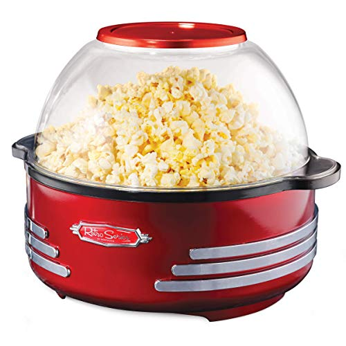 New Nostalgia SP300RETRORED 6-Quart Stirring Popcorn Popper (Renewed)