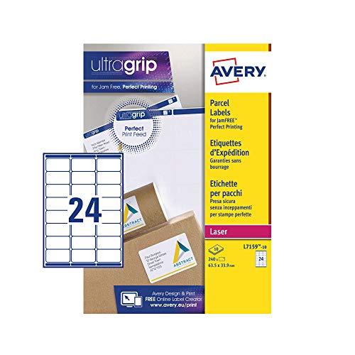 Avery L7159 Selbstklebende Adress-Adressetiketten (Amazon FBA Barcode-Etiketten), Laserdrucker, 24 Etiketten pro A4-Blatt, 240 Etiketten, UltraGrip
