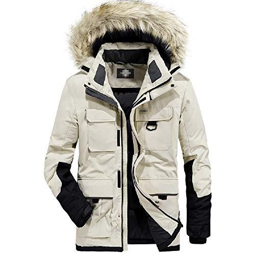 ZWHDS Heren Hooded Down Jacket Vest Rits Dikke Warm Lange Sectie Losse Grote Grote Bontkraag Winterjas