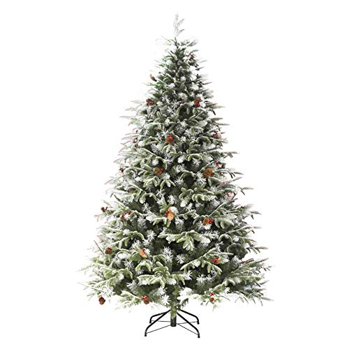 kaige Artificial Pencil Christmas, Snow Flocked Tree with Metal Stand, Pine Cones Decoration, Ideas for Festival Indoor Outdoor Deacute;cor, 210CM, Green WKY