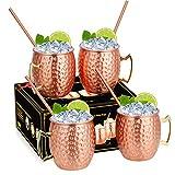 Hossejoy Moscow Mule Becher, Moscow Mule Kupferbecher: 4er Set – Umfasst 4 x 550ML Kupferbecher, 4 Trinkhalme, Sein & Ihr Geschenk für Zuhause, Bar, Party