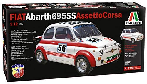 Italeri 4705S 4705-1:12 FIAT Abarth 695 SS/Assetto Corsa, Modellino da costruzione, non laccato