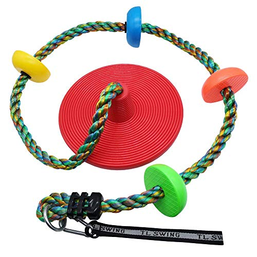 Xavnia Multicolor Climbing Rope Swing for Kids with Rainbow Platforms and Disc Swings Seat Set Outdoor Backyard Tree Swingset Playset Accessories