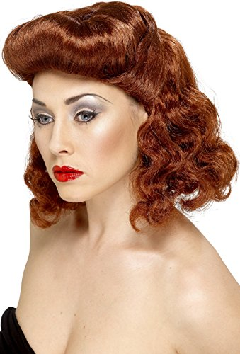 Smiffys, Damen Pin Up Girl Perücke mit Locken, One Size, Rostbraun, 42223