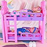 aheadad Literas para bebés Cuna doble Estilo europeo Muebles de cama tipo loft Doll Play House Toy para niños ingenious first-rate special