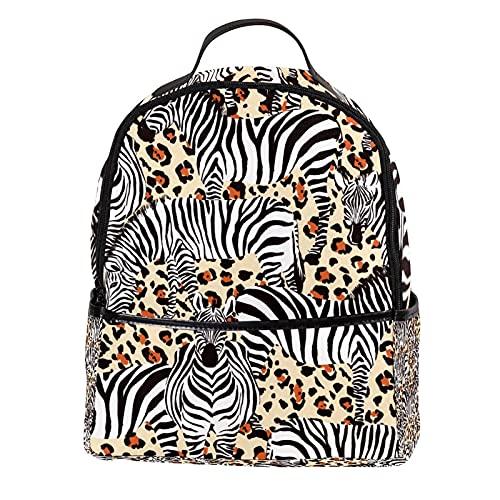 ATOMO Zaino Casual Mini Zebra Leopard Stampa Nizza Cuoio PU Viaggio Shopping Borse Daypacks