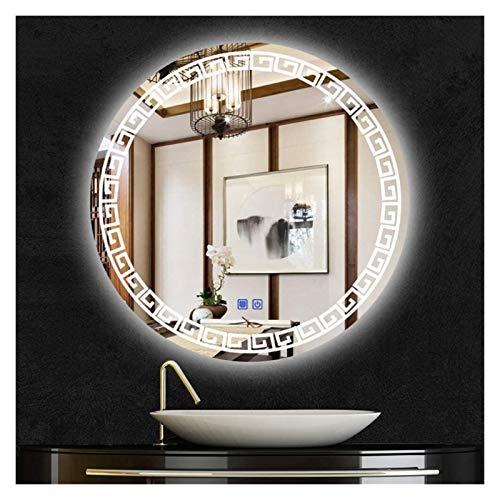 Espejo de baño antivaho, dormitorio, sala de estar, hotel, espejo de maquillaje redondo (color de luz blanca, tamaño: 70 cm)