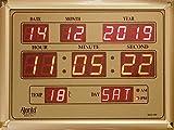 Ajanta Quartz Digital Red LED Rectangle Wall Clock OLC - 113 (39.6 cm x 29.6 cm x 3.5 cm, Golden)