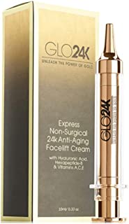 GLO24K Instant Facelift Cream with 24k Gold, Hyaluronic Acid, Peptides, and Vitamins, A,C,E. A powerful non-invasive alter...