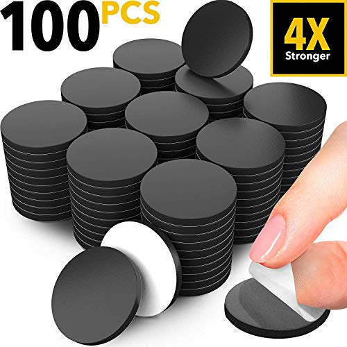 Adhesive Magnets for Crafts - 100 PCs Flexible Round Magnets with Adhesive Backing - Small Sticky Magnets - Magnetic Dots with Adhesive Back are Alternative to Magnetic Tape, Stickers and Strip