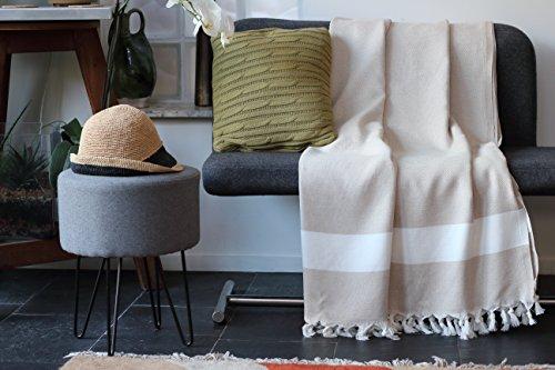 Funda para sofá, color beige   Talla XL 150 x 220 cm, 100% algodón de alta calidad - Manta, plaid o cubre para un sofá, una cama o un sillón   Allée Déco