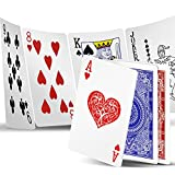 """INTEGEAR Playing Cards 2 Decks Waterproof Plastic Poker Cards for Texas Holdem Poker Go Fish and More Card Games Standard and Jumbo Index 2.5"""" x 3.5"""" (Blue/Red 2 Pack (Standard Index))"""