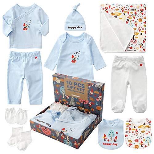 Neugeborenen Set Baby Erstausstattung Erstlingsausstattung Ausstattung Kleidung Badezimmer Geschenkeset Babyausstattung mit 10 Teilen für Kleinkinder Junge Mädchen (Blau)