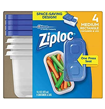 Ziploc Food Storage Containers Perfect for on-the-go snacking BPA Free Medium Rectangular 4 Count