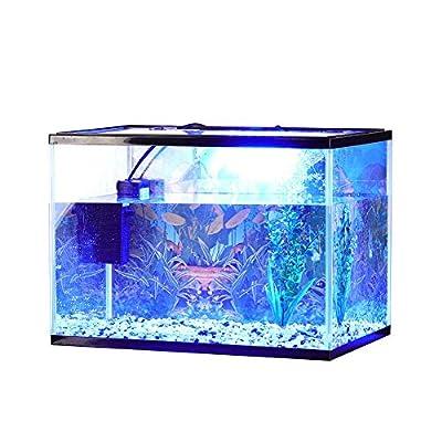 Fish Tank 24L Aquarium Kits, Contains 24 Litre Aquarium, Filter Pump, LED Lighting, Plant Stones Ornament, HD Background and Fish Net