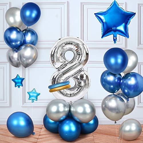 MMTX Cumpleaños Globos 8 Años Azul, Decoracion Cumpleaños Globos de Látex para Cumpleaños para Niños (8 Años)