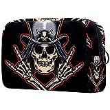 Neceser Maquillaje Portátil Cráneo de Rock Roll Bolsa de Maquillaje portátil Bolsa de Aseo Neceser de Viaje Toiletry Bag para Mujeres niñas 18.5x7.5x13cm