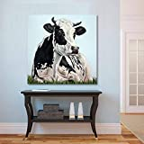 KWzEQ Arte Moderno de la Pared de la Lona Pintura al óleo Animal impresión de la Imagen de la Vaca para la decoración del hogar de la Sala de Estar,Pintura sin Marco,60x60cm