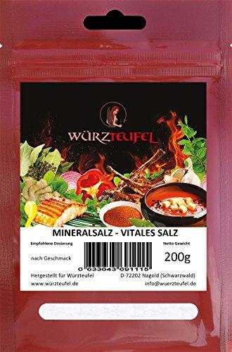 Salzersatz - Natriumreduziertes Speisesalz, Vitales Salz, Blutdruck-Salz, Mineralsalz. Beutel 200 Gramm.