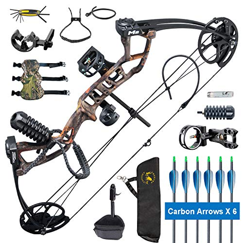 XGeek Compound Bow Set Beginners,Junior&Kids Bow 17'-27' Draw Length,10-40Lbs Adjustable,290fps IBO,Axle to Axle 25', Limbs Made in USA,Bow Only 2.54lbs, Ship from USA (Arrives 3-5 Days) (FOREST CAMO)