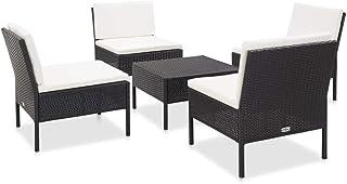 vidaXL Set Sofás de Jardín 5 Piezas y Cojines Conjunto Terraza Casa Exterior Comedor Aire Libre Mesa Silla Asientos Ratán Sintético Negro