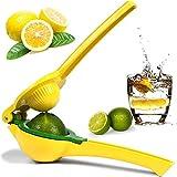 Metal Lemon Lime Squeezer Manual Citrus Press Juicer Handheld Lemon Juicer with Solid Squeezer Bowl Hand Held Lemons Juicer for Kitchen (Yellow)