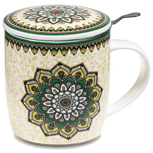 Juego de regalo con taza de mandala verde de 400 cl, tapa e infusor inoxidable, de porcelana de ceniza de hueso