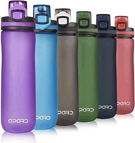 Opard Botella de agua deportiva, 600 ml, sin BPA, botella de plástico Tritan, no tóxica, con tapa abatible a prueba de fugas, para gimnasio, yoga, fitness, camping, color morado