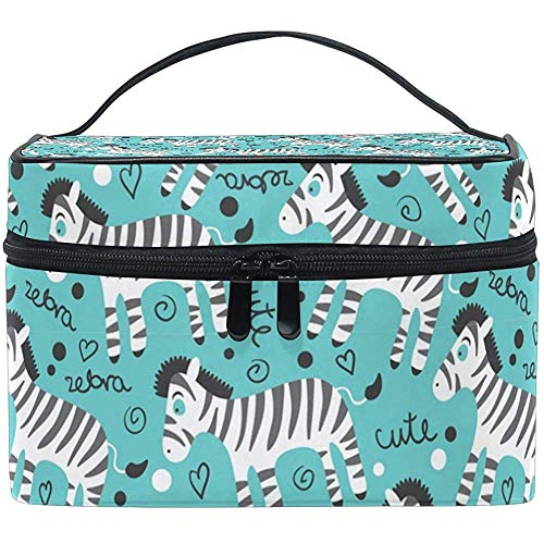 Childish Cute Zebras Cosmetic Bag Travel Makeup Train Cases Storage Organizer