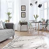 MyShop24h Alfombra para salón, 140 x 200 cm, gris, pelo corto, jaspeado, moderno, vintage, dormitorio, aspecto de mármol
