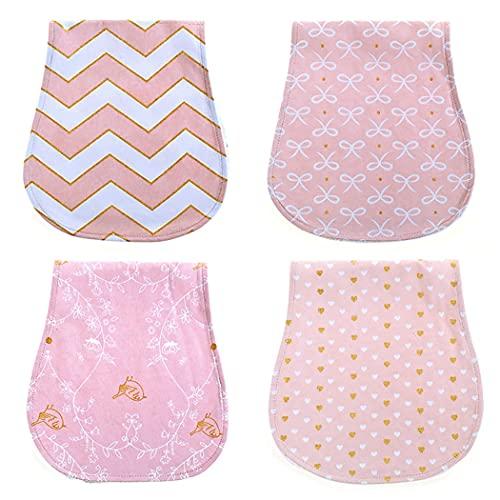 ZOYLINK 4 Piezas Niños Burp Cloths Absorbent Largo Suave Suave Impermeable Reutilizable Lavable para Niños Burp Toalla para Las Mujeres