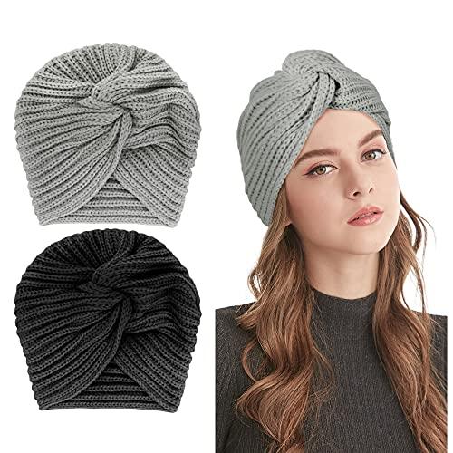 Bonnet Turban tricoté pour Femme - Hiver Tricoté Wrap Turban Femme Bonnet Chapeau Laine pour Dames Couvre-Chef Rétro Croix Headwrap