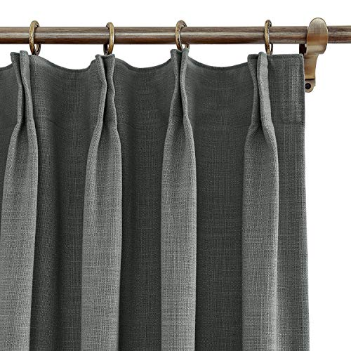 ChadMade 72' W x 96' L Polyester Linen Drapes with Blackout Thermal Lining Pinch Pleat Curtain for Sliding Door Patio Door Living Room Bedroom, (1 Panel) Carbon Grey