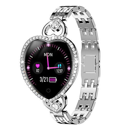 JXFF Reloj Inteligente de Las Mujeres, Pulsera de Aptitud de la Pulsera T52S SmartWatch Clock Reloj de Ritmo cardíaco Pantalla Bluetooth Impermeable para Android iOS,Plata